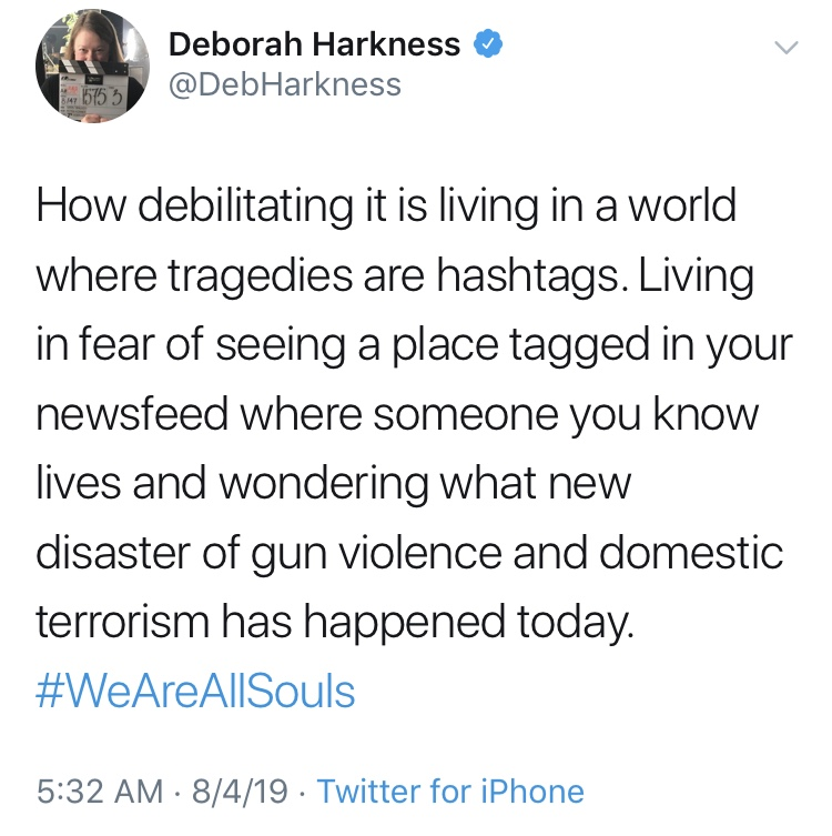 deborah harkness tweet, we are all souls, all souls con 2019
